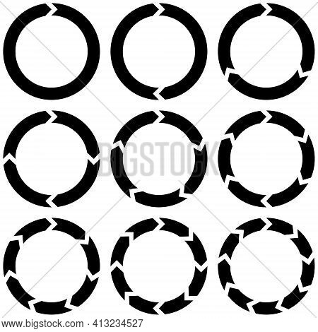 Set Circular Infographics With Arrows, Vector Round Arrows Motion Continuity Recycling Sign Refresh
