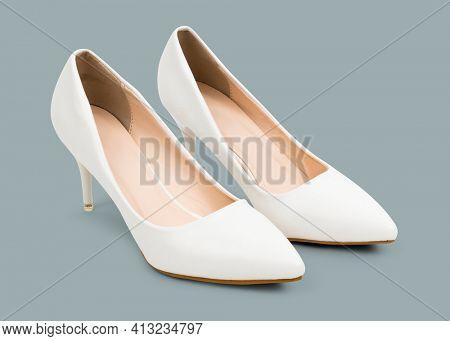 Women's white high heel shoes fashion
