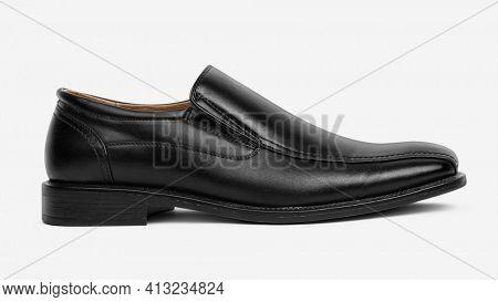 Black leather slip-on men's shoes fashion
