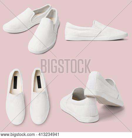 White slip-on unisex streetwear sneakers fashion set