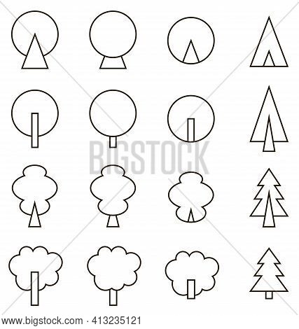 Set Of Black Line Icons On White Background Coniferous And Deciduous Trees