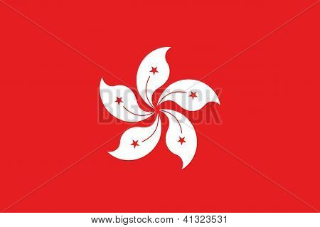 Illustrated Drawing of the flag of Hong Kong