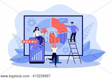 People Analyzing Social Media Statistics. Professional Seo Analytics On Computer Screen Flat Vector