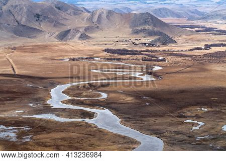 Cold Pure River In Mountain Valley Nearby Lake Baikal. Mountain Landscape.