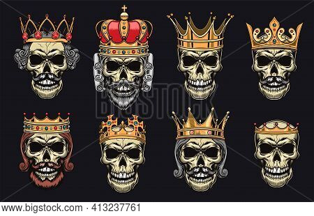 Skulls In Crowns Flat Illustration Set. Dead King Heads For Isolated Tattoo Vector Illustration Coll