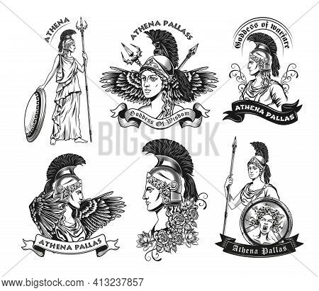 Monochrome Emblems With Athena Vector Illustration Set. Vintage Logotypes With Goddess Of Wisdom In
