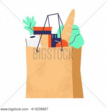Paper Bag With Groceries. Toilet Paper, Baguette, Vegetables, Milk, Cheese. Isolated On White. Flat