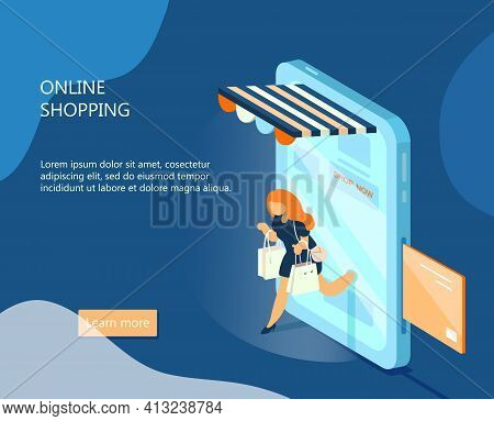 Vector Isometric E-commerce Banner. Online Shopping Concept. Woman With Purchases Walks Out From Sma