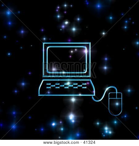 Space Background With Computer