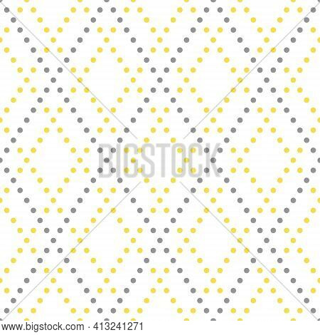 Colors Of Year 2021 Illuminating Yellow And Ultimate Gray Geometric Seamless Rhombus Pattern. Abstra