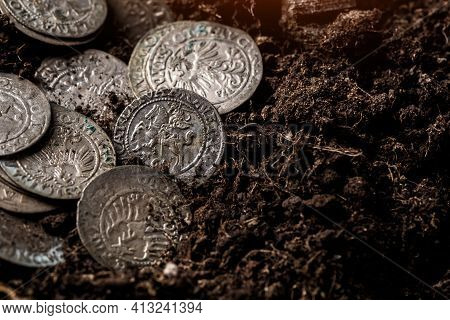 Closeup View Of Medieval European Silver Coins.zygmunt Iii Waza.ancient Silver Coins.numismatics.sil