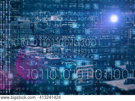 Composition of binary coding processing over cityscape in the background. online cyber security concept digitally generated image.