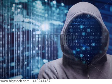 Composition of letters flashing and data processing over hacker wearing hood. online cyber security concept digitally generated image.