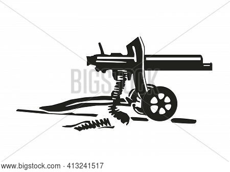 Maxim Machine Gun Of The First World War There Is An Illustration Of A Black Vector On A White Backg
