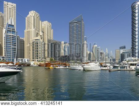 City View Around Dubai Creek Marina In Dubai, The Most Populous City In The United Arab Emirates