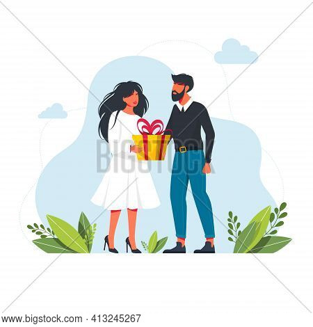 Man Give A Present To A Woman. Flat Vector Illustration. Man Gives A Gift To Woman. Cartoon Boy Givi