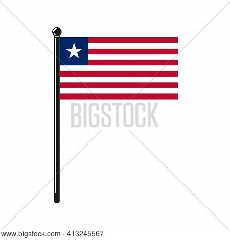 National Flag Of Liberia In The Original Colours And Proportions On The Stick