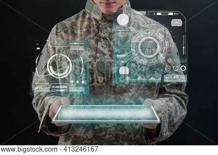 Soldier using virtual tablet hologram army technology