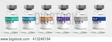 Different types of COVID-19 vaccine in glass vial bottles with labels