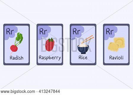 Colorful Alphabet Flashcard Letter R - Radish, Raspberry, Rice, Ravioli.