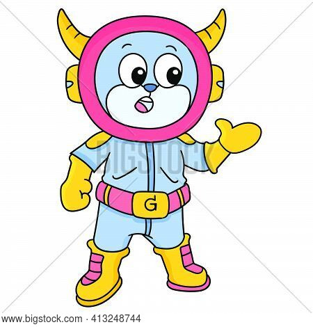 Fully Dressed Astronauts Ready To Go Out Into Space, Doodle Icon Image. Cartoon Caharacter Cute Dood