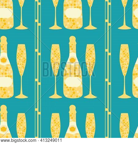 Champagne Icons Vector Seamless Pattern Background. Fun Abstract Fizzing Bottles, Glasses With Art D