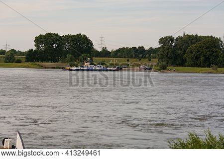 Orsoy, Nrw, Germany - June 23, 2019:  Ferry City Orsoy On The Rhine. The Ferry Connects Orsoy In Nrw