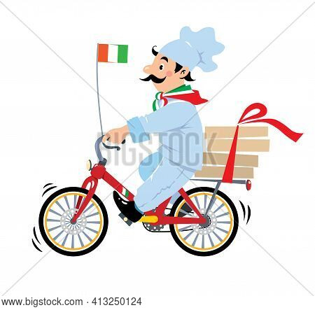 Funny Pizza Chef On Bicycle Or Bike Pizza Delivery