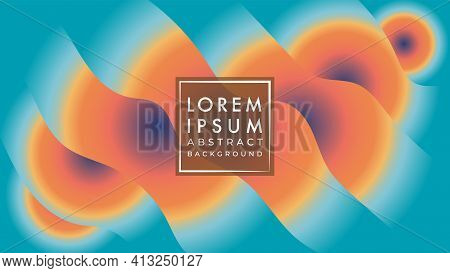 Wavy Shape Layer With Radial Earthtone Color Gradient. Abstract Background Design Template. Brown, O
