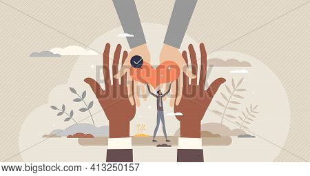 Hope And Support With Giving Heart For Sharing And Caring Tiny Person Concept