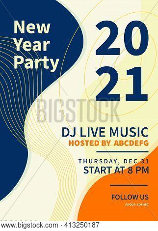 Abstract Modern New Year Party, Dj Live Music. 2021 Poster Template. Greeting Poster New Years Eve P