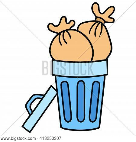 Full Trash Can, Doodle Icon Image. Cartoon Caharacter Cute Doodle Draw