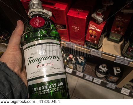Belgrade, Serbia - March 15, 2021: Tanqueray Gin Logo On Bottles For Sale. Tangueray Is A British Br