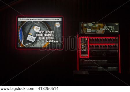 Belgrade, Serbia - August 17, 2019: Selective Blur On Posters Advertising For Luckies, The Vintage N
