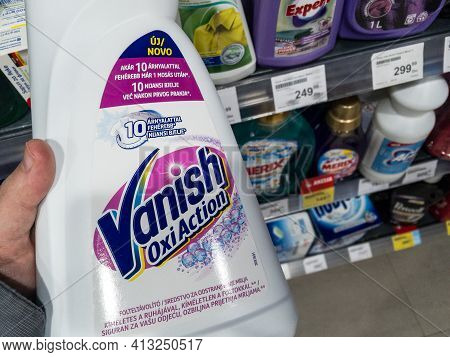 Belgrade, Serbia - March 18, 2021: Vanish Oxi Action Logo On A Detergent Bottle For Sale In Belgrade