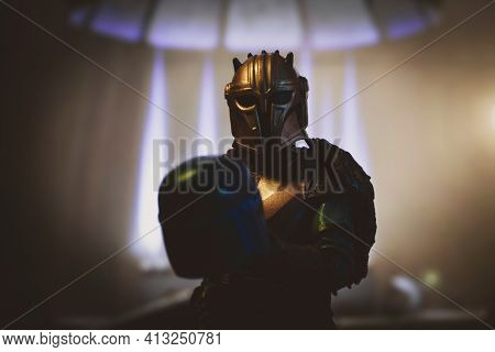 MARCH 8 2021: Star Wars Mandalorian Armorer in her secret foundry workshop - Hasbro action figure