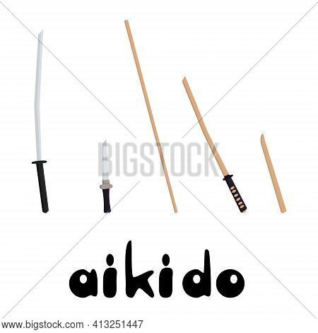 Weapons In Aikido, Training And Combat Weapons For Practicing Aikido Vector Illustration