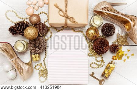 Fashion Girls Christmas 2022  Flat Lay. Shiny New Year Decoration, Hight Heel Gold Shoes And Jewelry
