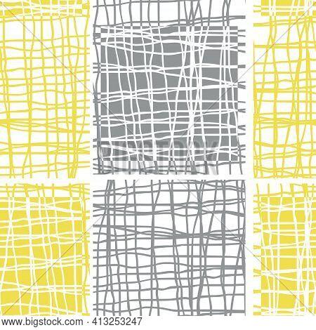 Irregular Vector Gauze Weave Effect Striped Seamless Pattern Background. Backdrop Of Alternating Yel