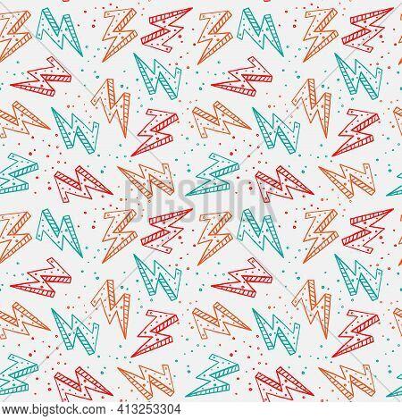 Thunderbolt Illustration On White Background Seamless Pattern.