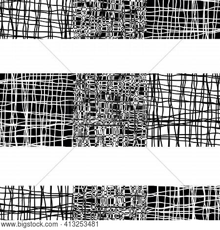 Irregular Vector Gauze Weave Effect Striped Seamless Pattern Background. Black White Backdrop Of Alt