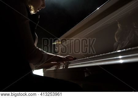 Woman Hands Playing A Piano, Musical Instrument