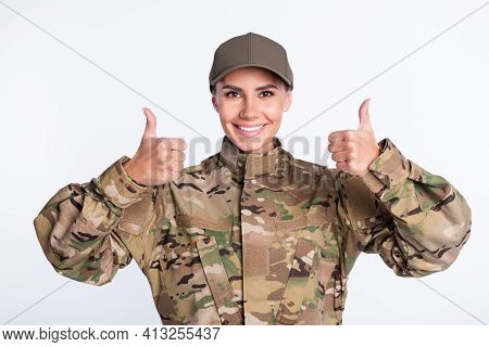 Photo Of Young Woman Happy Smile Soldier Army Officer Show Thumb-up Like Cool Advert Advice Isolated