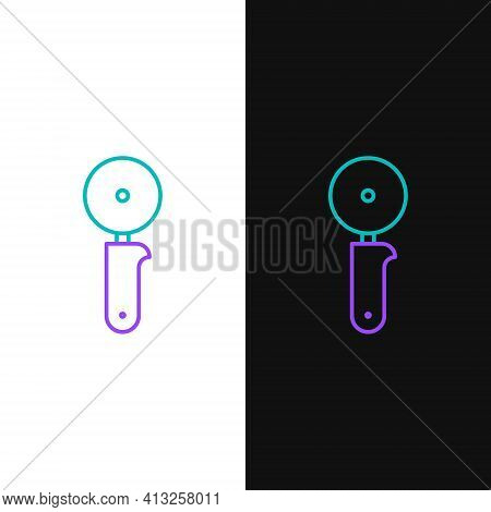 Line Pizza Knife Icon Isolated On White And Black Background. Pizza Cutter Sign. Steel Kitchenware E