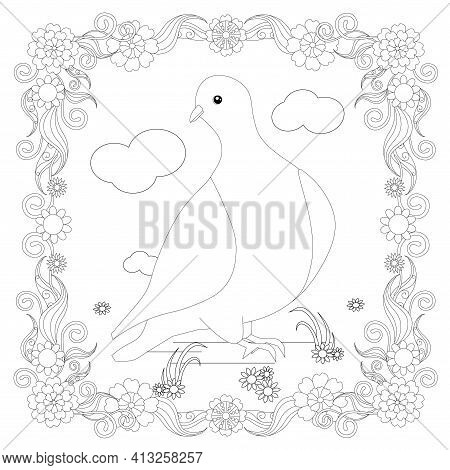 Dove In Floral Frame Design Element Stock Vector Illustration For Coloring Book, Anti Stress Page St