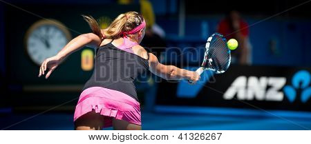 MELBOURNE - JANUARY 19: Yanina Wickmayer of Belgium in her third round loss to Maria Kirilenko of Russia at the 2013 Australian Open on January 19, 2013 in Melbourne, Australia.