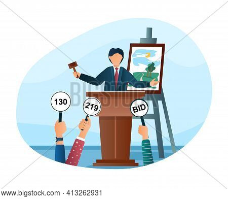People Bidding In Public Auction House Concepts. Market Trade, Bidder, Buyer And Auctioneer Characte