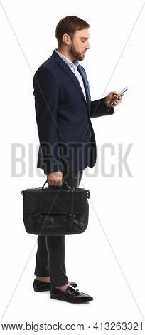 Young Man In Business Attire With Bag And Mobile Phone On White Background