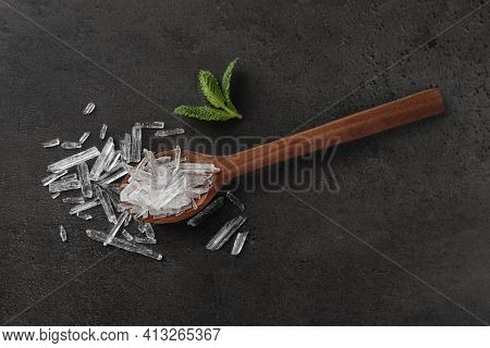Menthol Crystals And Mint Leaves On Grey Background, Flat Lay