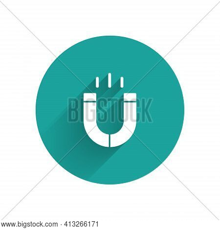 White Magnet Icon Isolated With Long Shadow. Horseshoe Magnet, Magnetism, Magnetize, Attraction. Gre